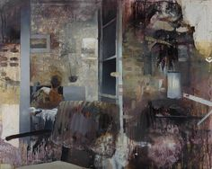 """Through a Glass Darkly"" curated by Jane Neal featuring Tim Braden, Ciprian Muresan, Daniel Pitin and Hugo Wilson - Nicodim Gallery: Daniel Pitin - ""Living Room"", 2011, mixed media on canvas, 70 X 86 in"
