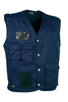 Chaleco Cofra monastir color azul marino, sin forro. 100% Algodón. Cerrado mediante cierres. Amplios bolsillos delanteros cerrados mediante velcro. Bolsillo portatarjeta. Aberturas laterales en la cintura. Bolsillo de pecho partido con solapa y cerrado mediante velcro. #MasUniformes #RopaLaboral #UniformesDeTrabajo #VestuarioOnline #Chaleco #Cofra