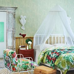 Bedroom Ideas: Soft Green Designer Bedroom with Bamboo Headboard also Vibrant Floral Bedlinen plus Upholstered Chair and Terracotta Colored Nightstand Green Bedroom Design, Bedroom Green, Girls Bedroom, Bedroom Decor, Bedroom Ideas, Bedroom Interiors, Bedroom Designs, Bedroom Inspiration, Bed Frames For Sale