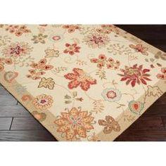 Hand-hooked Cream Rontgen Wool Rug (5' x 8')