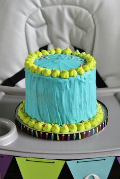 Monster's Inc. 1st Birthday Smash Cake! Blue and Green Smash Cake! By www.shookupcakes.com