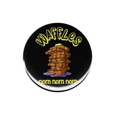 Waffles Nom Nom Nom Pinback Button Badge Pin 44mm Funny Cute Gift For Foodies