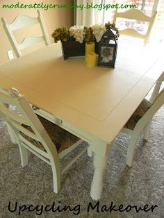 """Refinished dining room table using chalk paint. Recipe and instructions in the tutorial. Maybe for use on the """"new"""" kitchen table and chairs"""