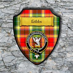 Gibbs Plaque with Scottish Clan Badge on Clan Tartan Background by YourCustomStuff on Etsy https://www.etsy.com/listing/516448715/gibbs-plaque-with-scottish-clan-badge-on