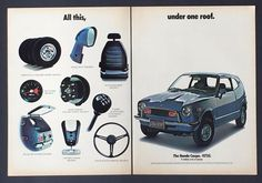 1972 Honda Coupe Original Advertisement 2 Page AD Blue Car Features Makes Sense