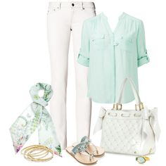 """""""White and Mint"""" by capehler on Polyvore"""