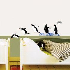 Wandsticker Wandtattoo tauchende Pinguine Pinguin Bad Deko   www.4-haen.de
