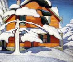 Pine Tree and Red House Lawren Harris Group Of Seven Art, Group Of Seven Paintings, Painting & Drawing, Watercolor Paintings, Abstract Paintings, Watercolors, Cool Paintings, Landscape Paintings, Building Art