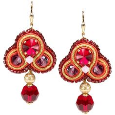 Ein Kunstwerk ist dieser prächtige Soutache Ohrring mit SWAROVSKI Elements in Rot | Perlotte Schmuck