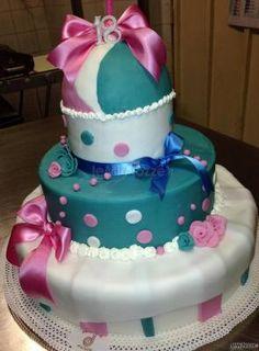 Torta celeste e rosa