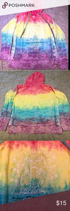 Cute Tye Dye Hoodie Ft Myers Beach - XL Cute & Comfy Tye Dye Hoodie Sweatshirt. Colors: Pink, Yellow, Blue & Purple. Gulf Coast Ft. Myers Beach on front with pretty design. Size XL. Good Condition. Tops Sweatshirts & Hoodies