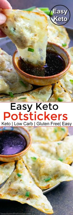 Easy Keto Potstickers with Asian Dipping Sauce- Keto and low carb pot-stickers that are simple to make! Easy Keto Potstickers with Asian Dipping Sauce- Keto and low carb pot-stickers that are simple to make! Easy Snacks, Keto Snacks, Easy Meals, Healthy Snacks, Keto Desserts, Healthy Eating, Paleo Recipes, Low Carb Recipes, Cooking Recipes