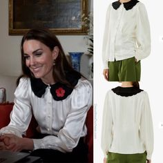 Kate Middleton in Ghost Blouse for Remembrance Week Video Call - Dress Like A Duchess Duchess Kate, Duchess Of Cambridge, Kate Middleton Style, Cool Style, Ruffle Blouse, Michael Kors, Blazer, Outfits, Made Video