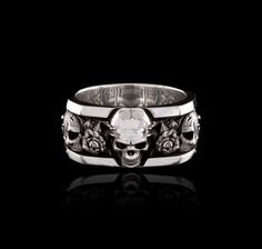 """NightRider Jewelry """"Roses Band"""" Skull & Roses Ring in 925 Sterling Silver"""