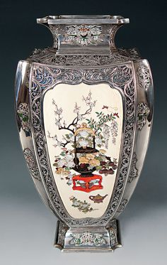 four-paneled silver and Shibayama high-shouldered pedestal vase