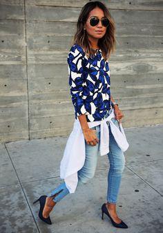 Spring / Summer - Fall / Winter - street chic style - electric blue and white floral print sweatshirt + light blue and white stripped boyfriend shirt + light denim skinnies + navy suede stilettos + aviators