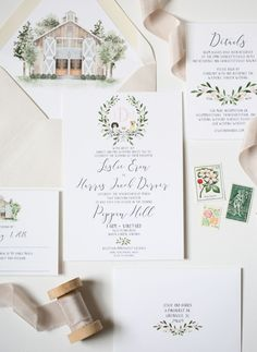 Watercolor wedding invitations | Photography:
