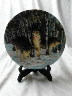 WOLF WOVES 3-D Resin COLLECTOR'S PLATE Wild Life Animals Gift Christmas