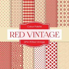 Red Vintage Digital Paper DP4178