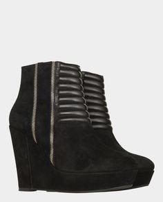 Boots compensées en daim et cuir avec détails de zips - Best sellers - Femme - The Kooples