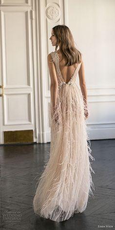 eisen stein 2018 bridal sleeveless deep v neck full embellishment high slit fringe skirt romantic soft a line wedding dress sweep train (11) bv -- Eisen Stein 2018 Wedding Dress