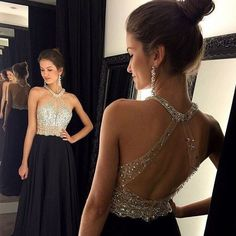 Find More Evening Dresses Information about Evening Dresses With Crystals Gorgeous Long Evening Dress Beaded Robe De Soiree Black A Line Formal Party Gown Summer Chiffon,High Quality dress latex,China dress up plain dress Suppliers, Cheap dresses dance from Charming Dress Factory on Aliexpress.com
