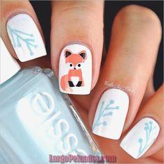 45 Beautiful Winter Nail Art Designs and Colors 2016 Animal Nail Art Cute Nail Art, Cute Nails, Pretty Nails, Winter Nail Art, Winter Nails, Summer Nails, Fantastic Nails, Fox Nails, Nagel Stamping
