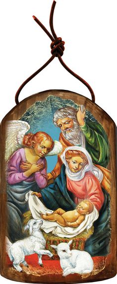 """The Holy Family 4.75""""h Museum Icon Wooden Ornament, Handcrafted Sacred Art, Wall Hanging Plaque Inspirational Decor 87020 by iconartbyhand. Explore more products on http://iconartbyhand.etsy.com"""