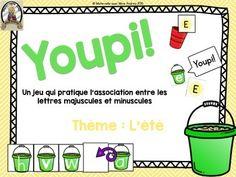 Jeu Youpi! (thème d'été) - FRENCH game/literacy centre to practice associating upper/lowercase letters