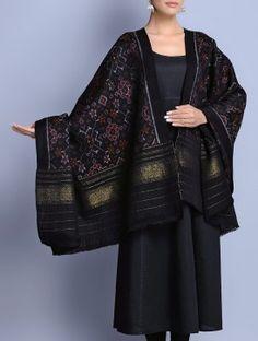 Black Wool Zari Border Handwoven Ikat Shawl