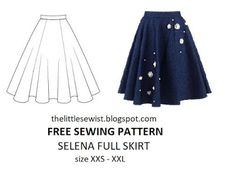 The Little Sewist: Free sewing pattern: 6 paneled full circle skirt pattern A Line Skirt Pattern Free, Circle Skirt Pattern, Circle Skirt Tutorial, Circle Dress, Full Circle Skirts, Tunic Sewing Patterns, Clothing Patterns, Pattern Sewing, Coat Patterns