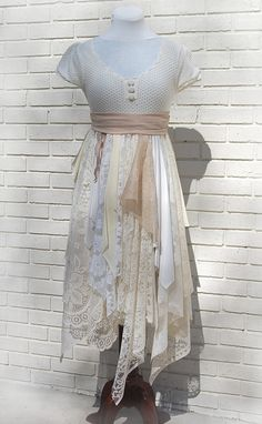 this is cute as hell!!! wish it was a large!!    Alternative Wedding / Party Dress, Prom, Boho, Fairy Woodland, Formal, Tattered, Shabby, Gypsy, Eco Earth Friendly, Upcycled Clothing. $130.00, via Etsy.