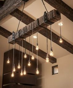 Reclaimed Wood Beam Chandelier with Iron brackets . Reclaimed Wood Beam Chandelier with Iron brackets – Unique Wood & Iron Lustre Industrial, Industrial Chandelier, Pendant Lighting, Pendant Lamps, Wood Chandelier, Ceiling Pendant, Industrial Lighting, Industrial Pipe, Industrial Design