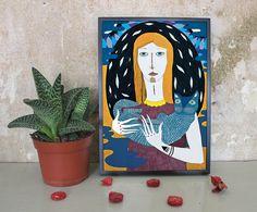 """Illustration """"Mädchen mit Katze"""" von Irina Mmurs Things auf DaWanda.com"""