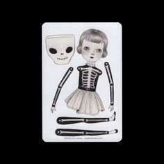 Skeleton suit - articulated paper doll set with 4 silver brads. $6.00, via Etsy.