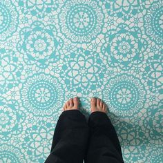 concrete floor stenciled with our Parlor Lace Stencil