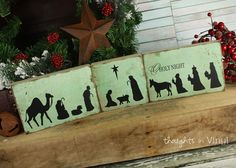 Nativity Silhouette Blocks wood Christmas crafts great for Super Saturday crafts
