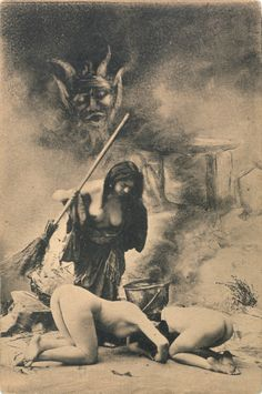 Witches' Sabbat in Paris, ca. 1910. Ladies become anointed, climb out a chimney, learn to fly a broom, they go to sabbath to meet the devil...