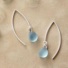 Sunrise Silver Sea Glass Earrings