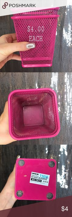 IKEA Organizers Selling TWO IKEA hot pink organizers; can hold pencils/pens on your desk or makeup pencils/brushes on your vanity. Made of metal, I used these to hold my makeup brushes. Original price was $10.00 each. Selling for $4.00 each. You can purchase them separately or bundle them both together with other item(s) from my closet. 😉✨ Ikea Other