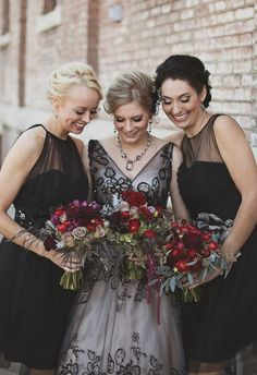 bridesmaids in black // photo by Millie B Photography // http://ruffledblog.com/notwedding-wichita
