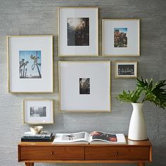 nice layout of Gallery Frames - Polished Brass #westelm