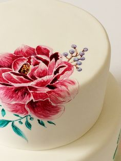 Floral hand-painted cake PAINTED CAKE http://www.sweetdeer.co.nz