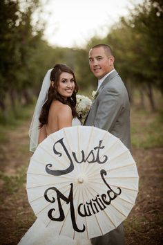 Just Married Parasol ~ Tamara J Events // T.J. Salsman Photography