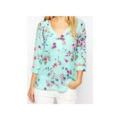 V Neck Dip Hem Florals Blouse ($21) ❤ liked on Polyvore featuring tops, blouses, long tops, flower print top, v neck blouse, floral print top and v-neck tops