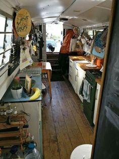 Cheap Houseboat Interior Ideas - The Urban Interior Küchen Design, Rustic Design, Design Ideas, Boat Design, Canal Boat Interior, Trailers, Narrowboat Interiors, Narrowboat Kitchen, Bungalow