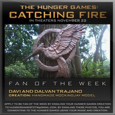Congratulations Davi and Dalvan Trajano! Their exquisite, handmade Mockingjay model earned them a spot as our Hunger Games Fan of the Week!