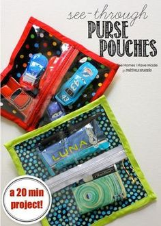 see-through purse pouches - simple sewing project to keep any bag organized!