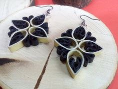 Quilling earrings Black Flower Paper Quilling Paper by IvonaJQ