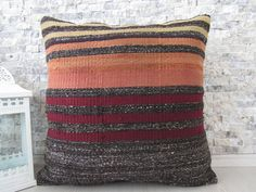 Natural Colors Wool Pillows Kilim Pillow 20x20 Decorative Pillows Kilim Cushion Boho Pillow Kelim Kissen Aztec Pilllow Floor Pillow